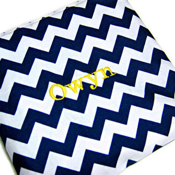 Reusable snack bag personalized zipper waterproof navy blue chevron school lunch bag eco friendly