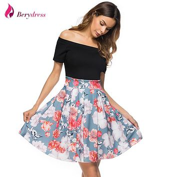 Berydress Cute Women Sexy Cocktail Party Off the Shoulder with Sleeves Patchwork Floral Print Casual Skater Dress Short Vestidos