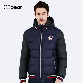 ICEbear 2016 Rib Knit Sleeves Hat Detachable Thick Warm New Winter Cotton-Padded Jacket For Young Men Fashion Parka Coat 16MD872