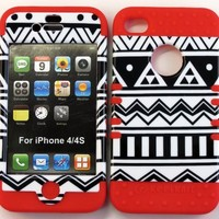 Bumper Case for Apple iphone 4 4G 4S Black & White Aztec Tribal Print hard plastic snap on over Red Silicone Gel