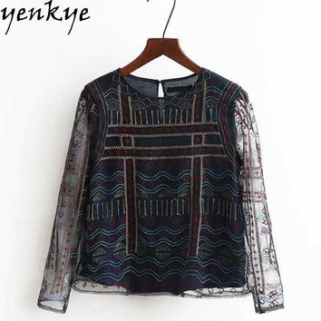 New Vintage Crop Tops Women Embroidery Mesh Blouse Shirts O Neck Long Sleeve Basic Tops