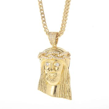 18K Jesus Piece Pendant with CZ Eyes