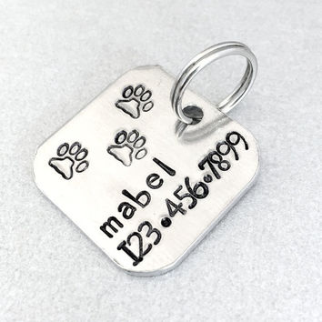 Hand stamped dog ID tag / Mabel / square aluminum tag / personalized dog tag / dog tags for dogs