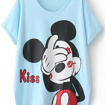 Cartoon Character Printed Light Blue Shirt