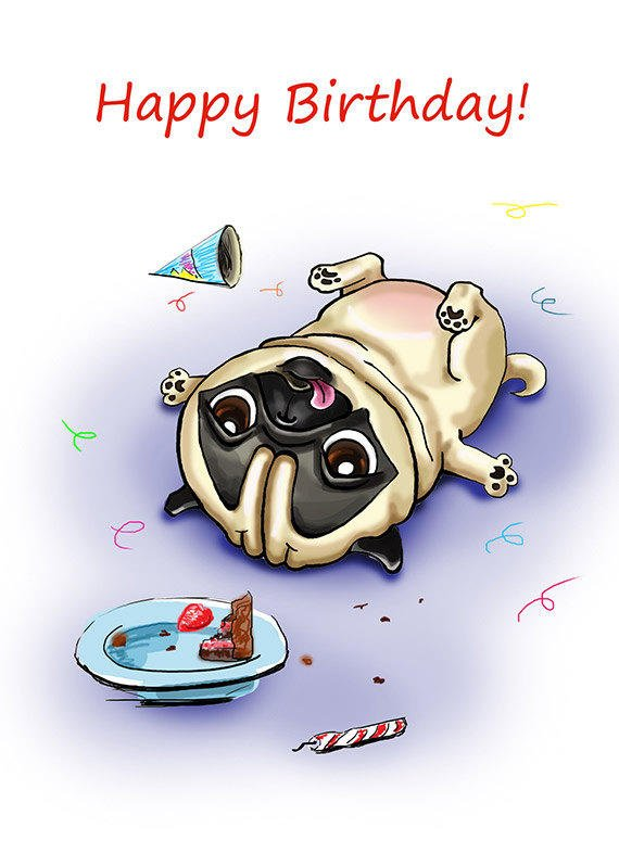 best pug birthday products on wanelo, Birthday card