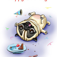 "Pug. Birthday. Printable greeting card, Instant Download 5 x 7"" JPG file, Happy Birthday. Funny sketch drawing."