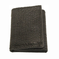 Genuine Shark Skin Trifold Wallet in Black - Real Shark Skin Leather - Free Shipping to USA