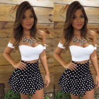 Sexy Women Lace Bodycon Dress Skirt and Crop V-Neck Tops 2-Piece Party Clubwear = 5698872897