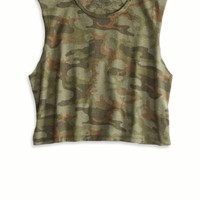 AEO Women's Don't Ask Why Muscle T-shirt (Classic Camo)