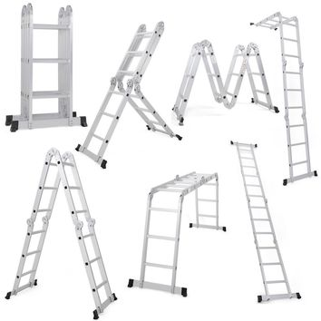 12.5FT EN131 Multi Purpose Step Aluminum Folding Scaffold Ladder Constructed of sturdy aluminum, this multi-purpose ladder makes it a great helper to satisfy your various needs.
