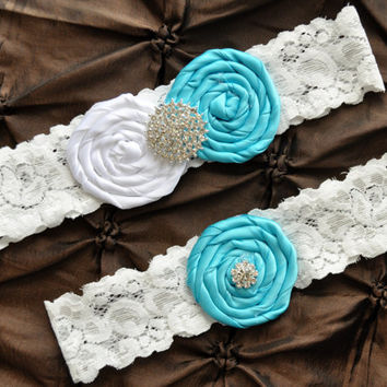 Wedding Garter, Bridal Garter Set - White Lace Garter, Keepsake Garter, Toss Garter, Rolled Silk Rosette Aqua Tiffany Blue, Something Blue