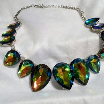 Statement Necklace, Large Vitrail Swarovski Crystals, Pear Shape, Graduating Size, Up to 1-1/2 inches, Choker, Foil Backed, Prong Set,