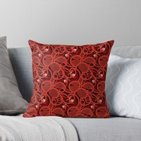 'Cherry Tomato Red Hearts' Throw Pillow by Gravityx9