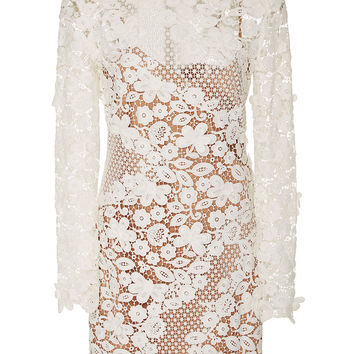 White Butterfly And Floral Lace Shift Dress With Cami Lining
