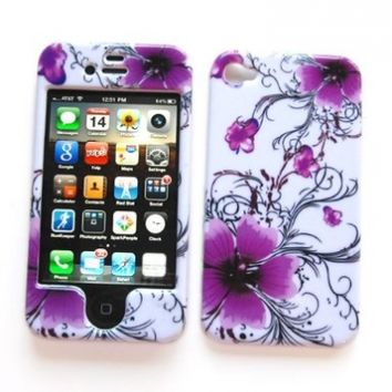 """Snap-on Protector Hard Case Image Cover """"Artistic Purple Flowers"""" Design"""" for Apple iPhone 4 / 4S"""