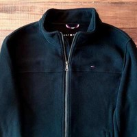 Tommy Hilfiger Men's Large Classic Zip Front Polar Fleece Jacket BLACK $160.00