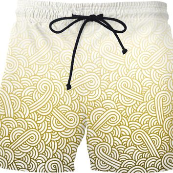 Gradient yellow and white swirls doodles Swim Shorts