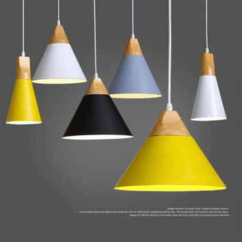 Modern Wood Pendant Ceiling Hanging Lamp  Kitchen Light Fixture Iron Real Wood Material AC110V/220V E27