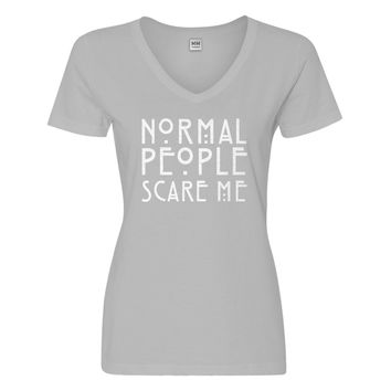 Womens Normal People Scare Me Vneck T-shirt