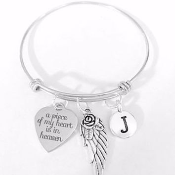 Adjustable Bangle Charm Bracelet A Piece Of My Heart Is In Heaven Initial Wing