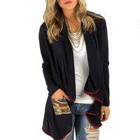 Tribal pocket Cardigan- Navy | MACA Boutique