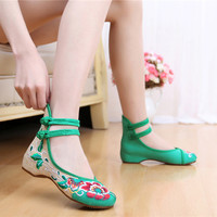 Hot Women pumps height increased embroidered dance shoes linen wedges high heels shoes High Hibiscus linen embroidered  #WS016