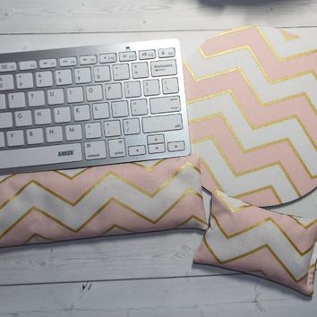 pink gold chevron - mouse pad - Keyboard rest and WRIST REST MousePad set - coworker gift - office Desk Accessories