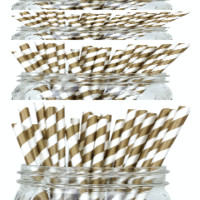 Striped Paper Straws 50pcs Gold