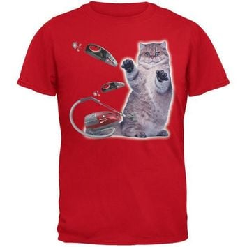 CREYCY8 Galaxy Cat Vacuum Red Youth T-Shirt