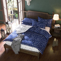 New Duvet Cover Set Love Letter Cotton Bedding Set Blue/Gray and White Color Contrast Bed Sheet Sets Home Textile