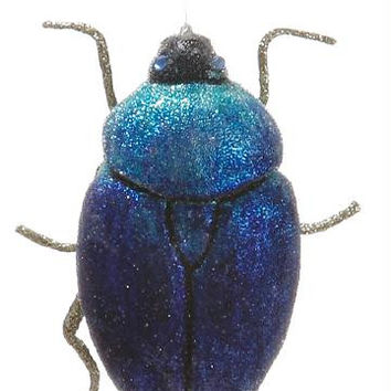Christmas Ornament - Blue And Silver Scarab Beetle