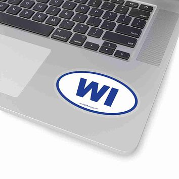 Wisconsin WI Euro Oval Sticker BLUE