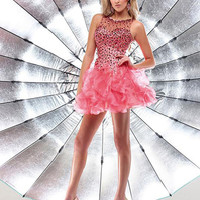 2016 New Arrive Elegant Ruffles Pink A-Line Cocktail Dresses Summer Shininy Crystal Vestido Sexy Backless Formal Dress Plus Size
