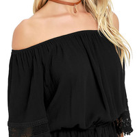 Magic Woman Black Lace Off-the-Shoulder Top