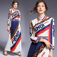 Fendi New fashion more letter print long sleeve dress women White