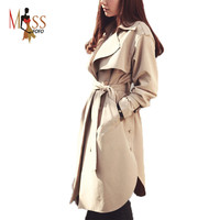2016 new spring fashion/Casual women's Trench Coat long Outerwear loose clothes for lady good quality C0246