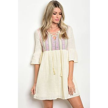 Ladies tassel tie neckline 3/4 bell sleeves shift dress