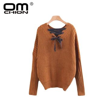 New Autumn Women Sweaters And Pullovers V Neck Bow Lace Up Knitted Sweater Preppy Style Jumper