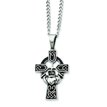 Stainless Steel Antiqued Claddagh Pendant Necklace SRN842