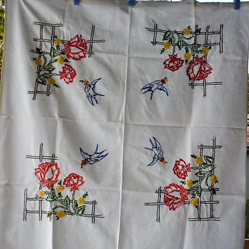 1950s Vintage Square Hand Made N Hand Embroidered White Bleached Muslin Cotton Table Cloth/Floral N Swallows Hand Embroidered Tea Cloth