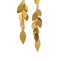 Hervé Van der Straeten | Hammered gold-plated leaf clip earrings  | NET-A-PORTER.COM