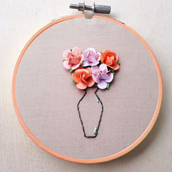 Paper Flower Hand Embroidery Hoop Floral Vase Bouquet Decor Flower Hand Embroidery Hoop Floral Home Decor Wedding Decor Spring Peach Decor