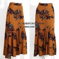 Maxi Skirt Floral Boho Skirt Bohemian Long Skirt Dark Mustard-Brown Color