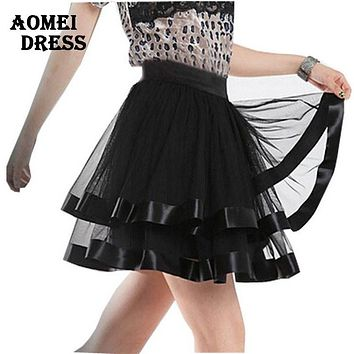 Women Black Tutu Skirt tulle Ballet pettiskirt Klit Belly Dance Miniskirt skater Saia faldas Summer Girl fitness Grunge Skirts