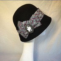 Black hat, Gift for Mom, May gifts, Spring trends, Downton Abbey