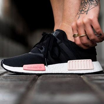 """Adidas"" NMD Women Men  Trending Fashion Casual Running Sports Shoes Pink Soles G"