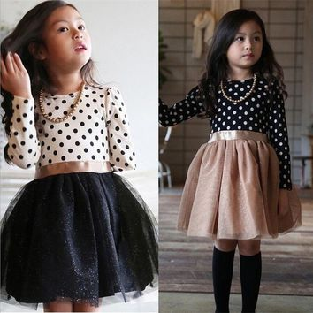 Infant Girl School Dress For Girls Clothing Dresses winter Long Sleeve Polka Dot Toddler Princess kids dress for Girls Clothes