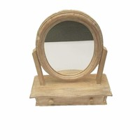 Oval Shaped Mango Wood Dressing Mirror With Drawer, Brown