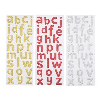 Glitter Alphabet Letter Lower Case Stickers, Gold/Red/Silver, 1-Inch, 3-Packs