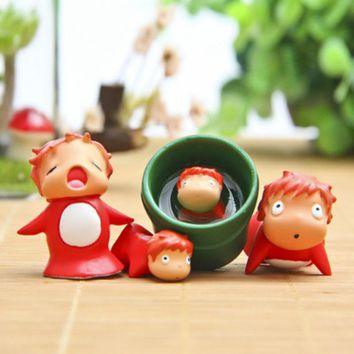 4pcs Miyazaki Hayao Ponyo Doll Landscape Ornaments Model Action Figure Toy Cartoon Garden Ornament Bonsai Home Decor Gift Toys